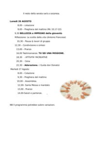 Meeting Nazionale Lu&Gi - Programma